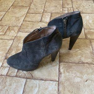 Frye Suede Harlow Bootie Heels
